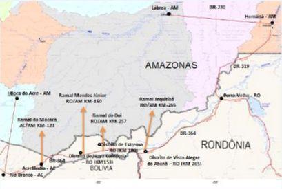 MAPA DAS ÁREAS DE CONFLITO NAS DIVISAS DO SUL DO AMAZONAS