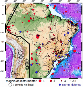 Mapa de registro de sismos no Brasil. Foto: USP.
