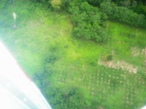 Em sobrevoo de helicópteros policiais comprovam a devastação da floresta no Peru. (Foto: Divulgação da Polícia Federal e Polícia Nacional do Peru)