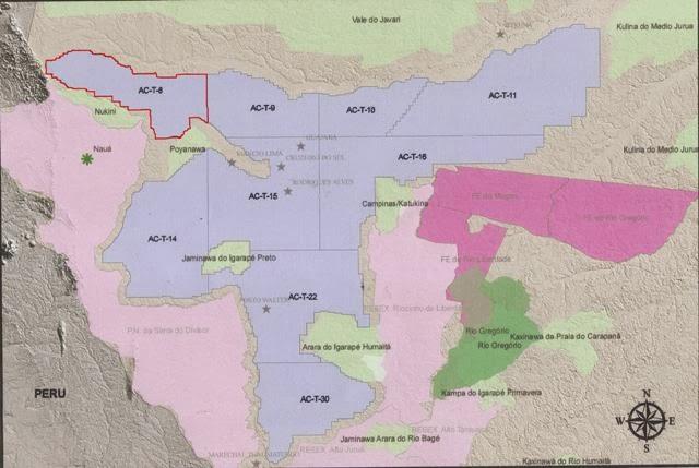 Mapa elaborado pela Funai/Vale do Javari, que mostra os blocos da Bacia do Juruá, com destaque ao lote AC-T-8 (acima, à esquerda)
