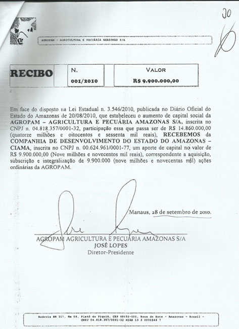 Reprodução de documento que consta na ação do MPF do Amazonas