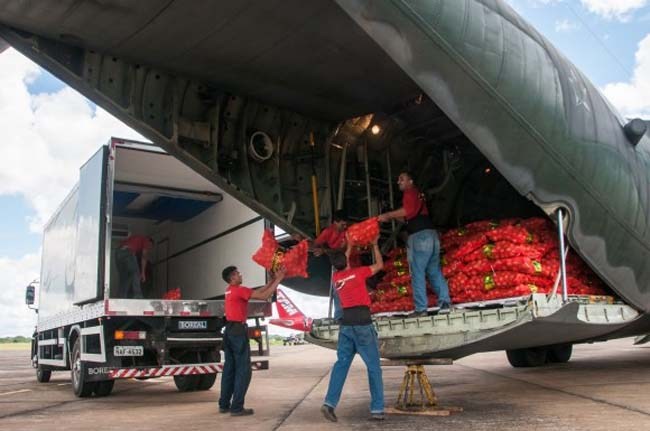 Verduras foram transportadas pelo avião da FAB em Rio Branco (Foto: Arison Jardim/Secom)
