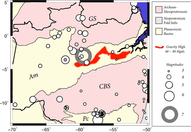 Mapa mostra  anel vermelho que indica o tamanho e localização do tremor no rio Urubu (Fonte UnB)