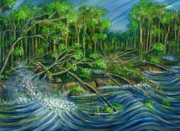 Ilustração sobre possíveis efeitos do terremoto no Amazonas em pintura da artista Marlene Costa