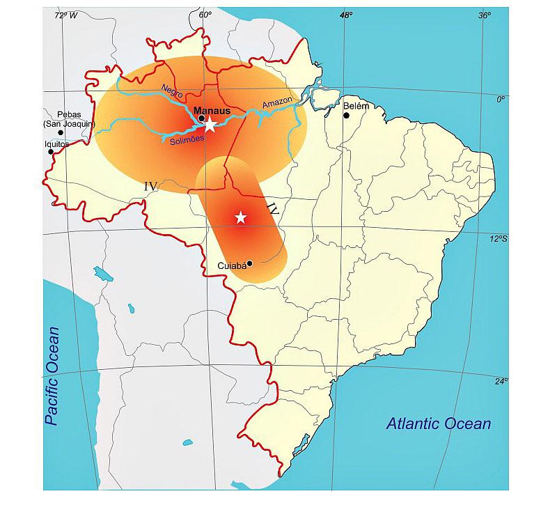 Comparação entre as áreas estimadas de percepção dos abalos de 1690 e de 1955, esse último considerado o maior terremoto registrado no Brasil (31 de janeiro de 1955, no Mato Grosso, com magnitude 6.2) (Fonte UnB)