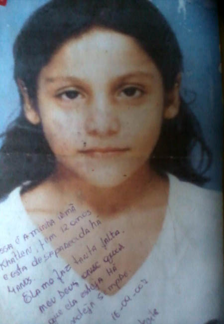 Khatlen Ferreira, desaparecida desde 2003. Foto: Arquivo pessoal.