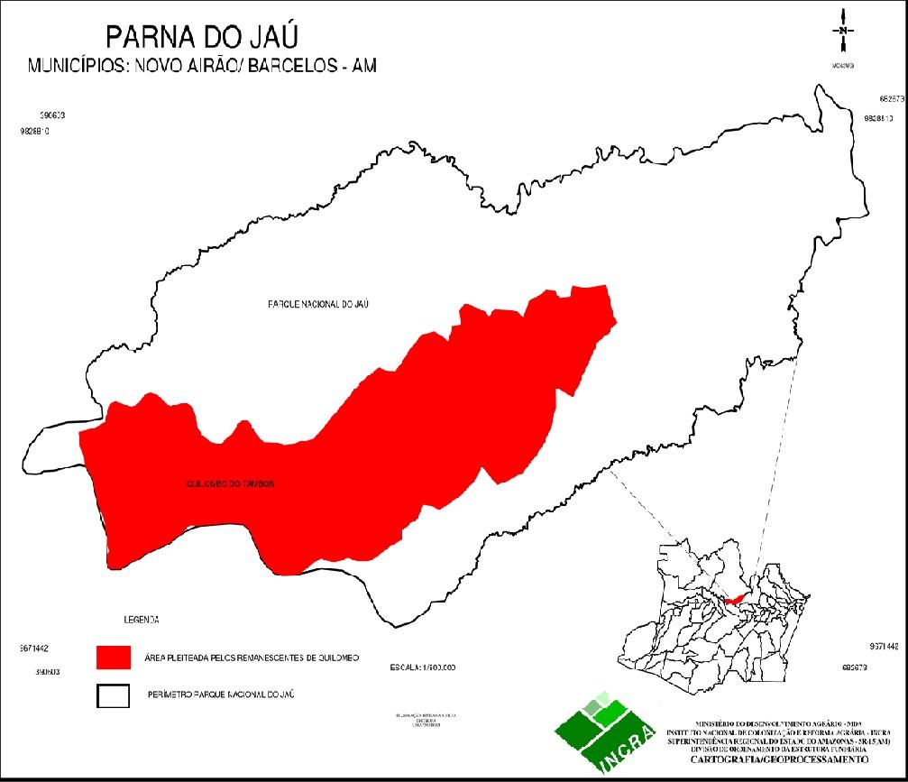 Mapa do Parque Nacional do Jaú, com a delimitação da Comunidade Quilombola do Tambor, em destaque (Imagem: Incra)