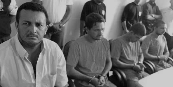 Os réus Vitalmiro Bastos, Amair Cunha, Clodoaldo Batista e Rayfran Sales no julgamento em 2005 (Foto: Comitê Dorothy)