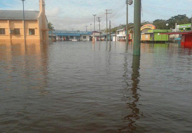 As águas do Solimões inundaram a cidade de Anamã em 2015. (Foto: Defesa Civil de Anamã)