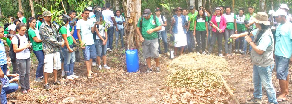 Participantes da oficina sobre Orgânicos na Comunidade do Açaí, Gleba Vila Amazônia. (Foto: Floriano Lins)