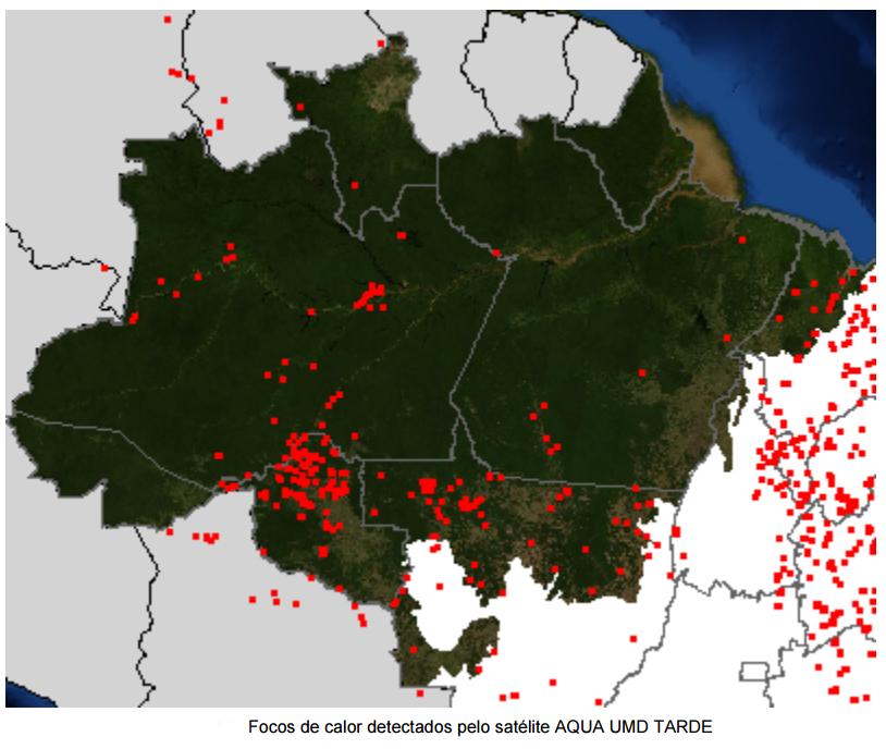 Imagem registrada em 02/10 pelo Inpe mostra os focos em Manaus e no Sul do Amazonas