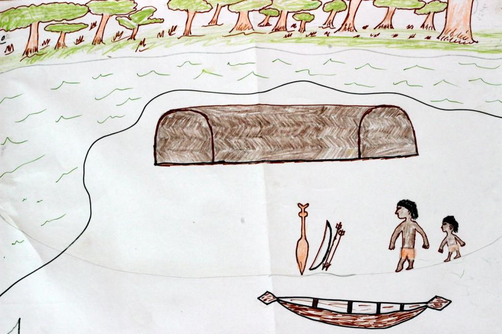 O trabalho vencedor com a Ilha da Onça (Ilustração Paumari)