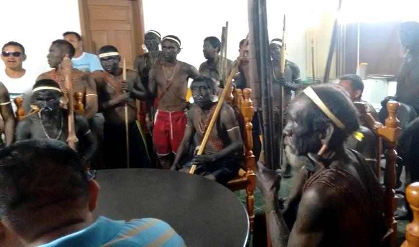 Ocupação dos índios Matís da sede da Funai. (Foto: Divulgação/Associação Indígena Matís)