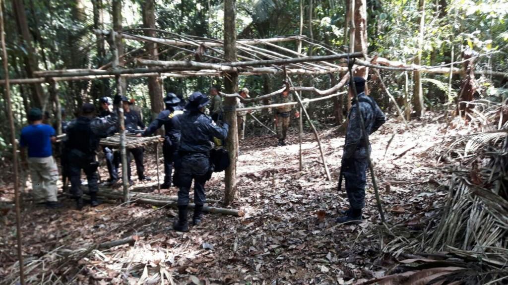 Área de garimpo encontrada pela polícia na reserva Uatumã. (Foto: Divulgação PC)