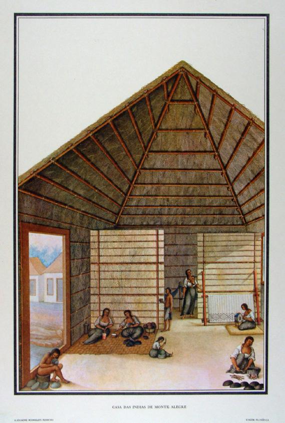 """Casa das índias, em desenho do séc. 18 de Joaquim Codina, no livro """"Viagens Filosóficas"""", de Alexandre Rodrigues Ferreira."""