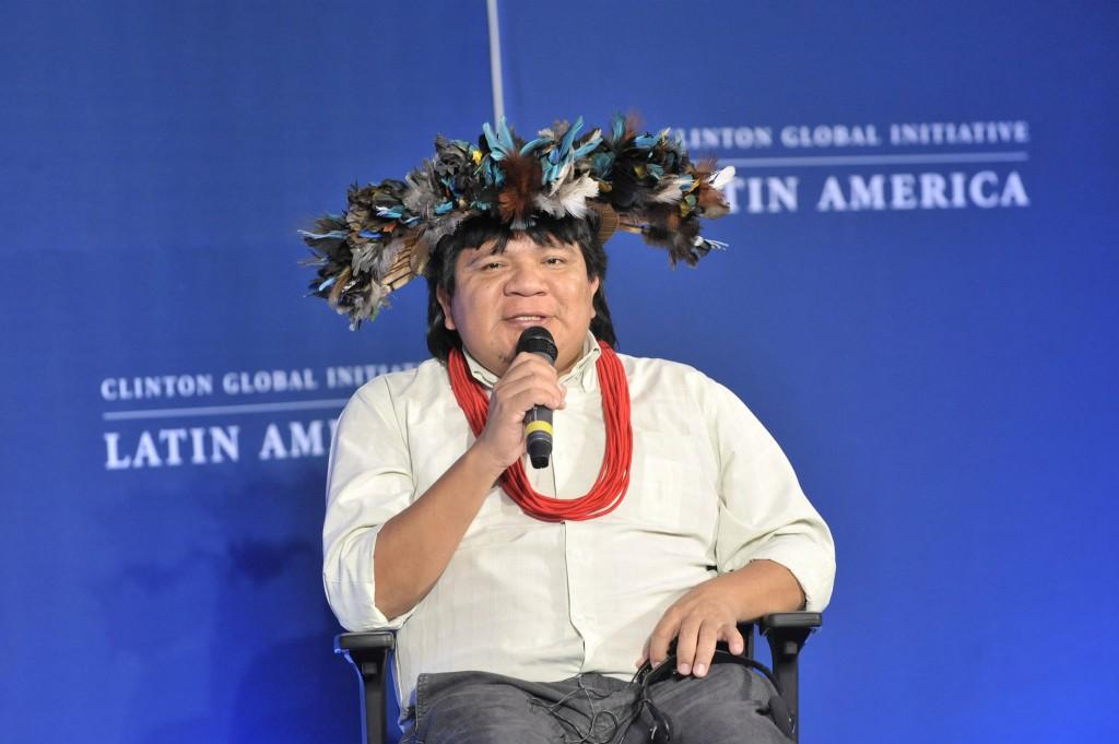 Almir Suruí participa de evento internacional em defesa dos povos indígenas (Foto: Juliana Thomas/Clinton Global)