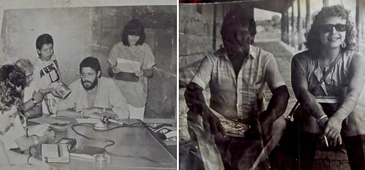 Laura Lucena entrevistando Dante de Oliveira (1952-2006), autor da emenda das Direjas Já.  (Foto: Arquivo pessoal)