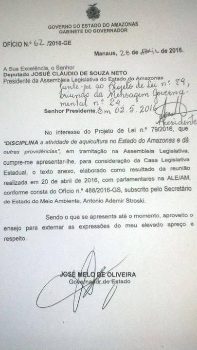 Govenador Jose Melo enviou substitutivo de projeto