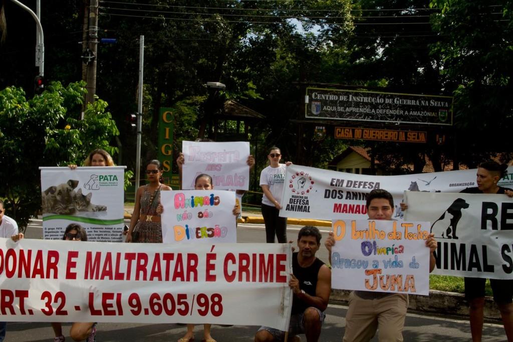 Protesto em repúdio contra a morte da onça Juma em 20166 (Foto: Alberto César Araújo/Amazônia Real)