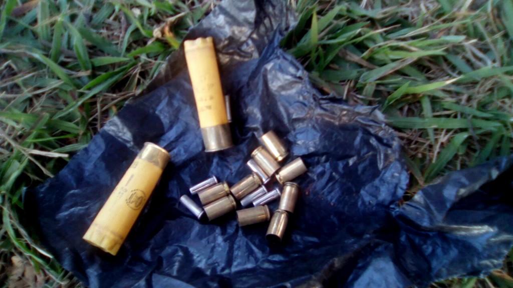 As balas disparadas contra os Guarani-Kaiowá no conflito de 14 de junho na fazenda Yvu (Foto: Cimi)