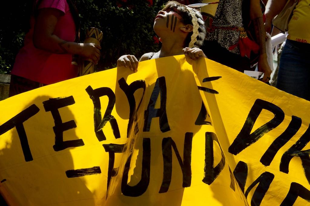 Manifestação em defesa das terras indígenas em Manaus (Foto: Alberto César Araújo/Amazônia Real)