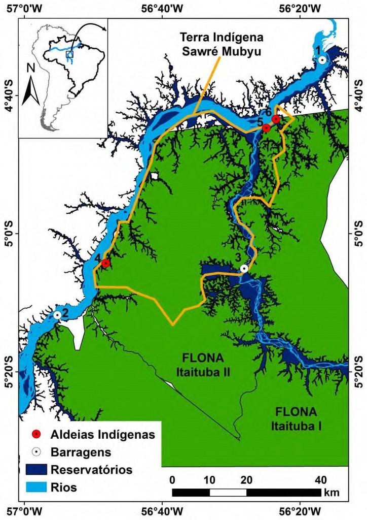 Mapa da Terra Indígena Sawré Muybu