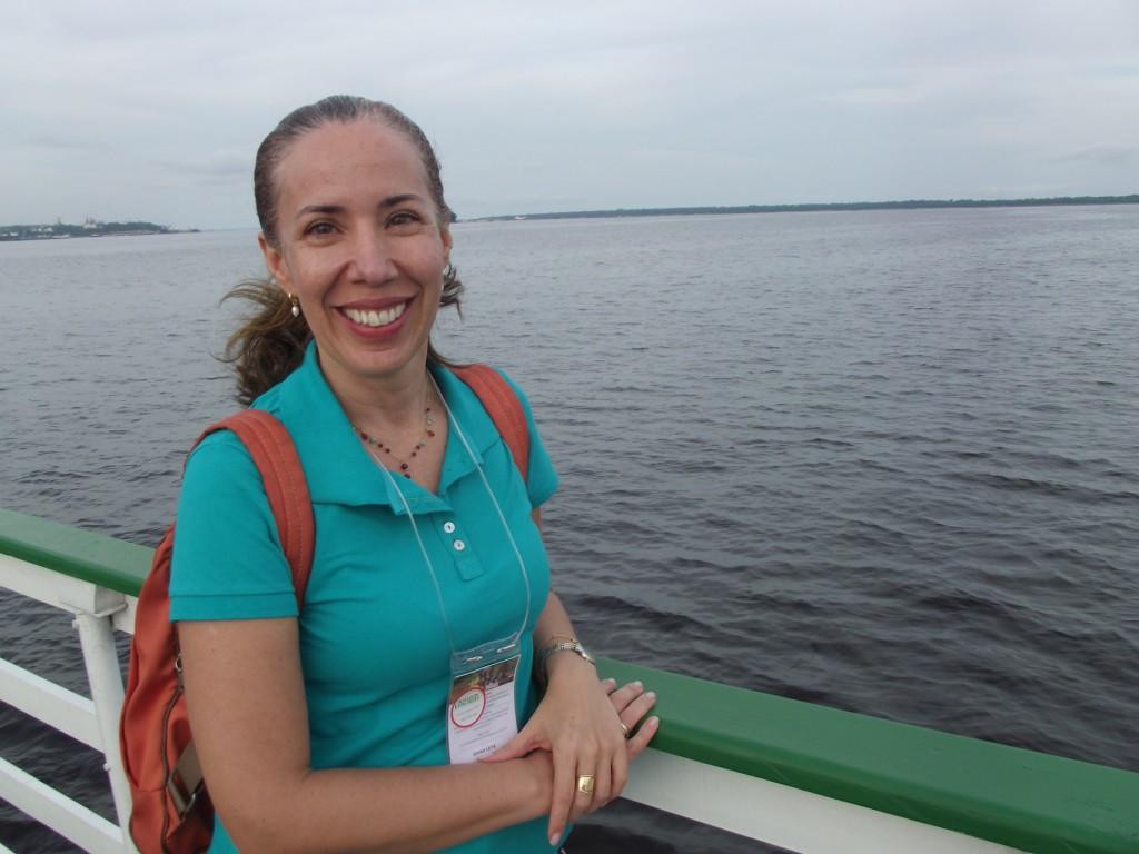 Para pesquisadora Diana Cavalcanti, da ANA, parceria com países vizinhos possibilitará ao Brasil melhores condições de analisar dados para elaborar estratégias de defesa civil em cidades impactadas com enchentes e secas na Amazônia (Foto: Fabio Pontes/AM Real)