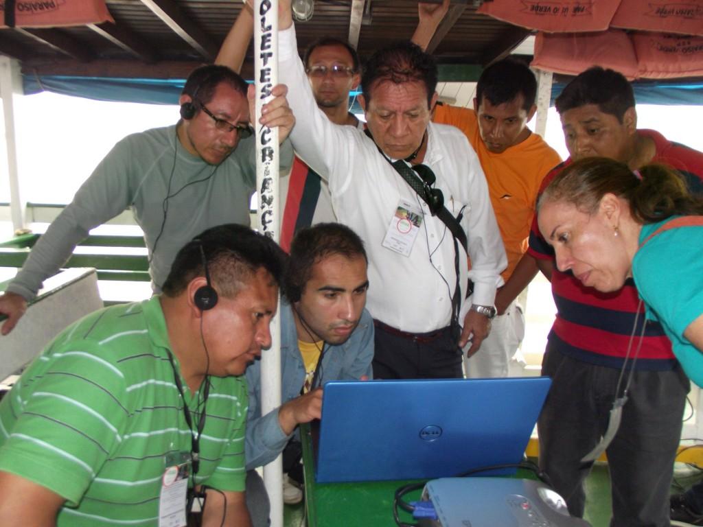 Pesquisadores dos países da Bacia Amazônica conhecem o software que passarão a operar nos rios  (Foto: Fábio pontes/Amazônia Real)