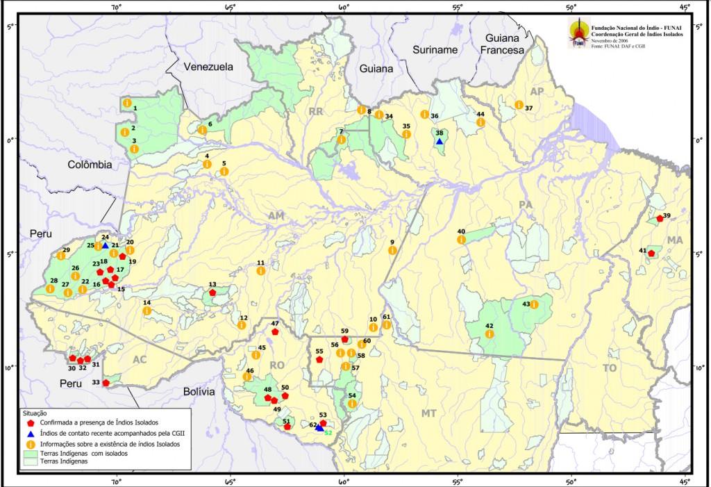 Mapa da Funai de índios isolados no Brasil. Número pode ser maior (Imagem: Funai)