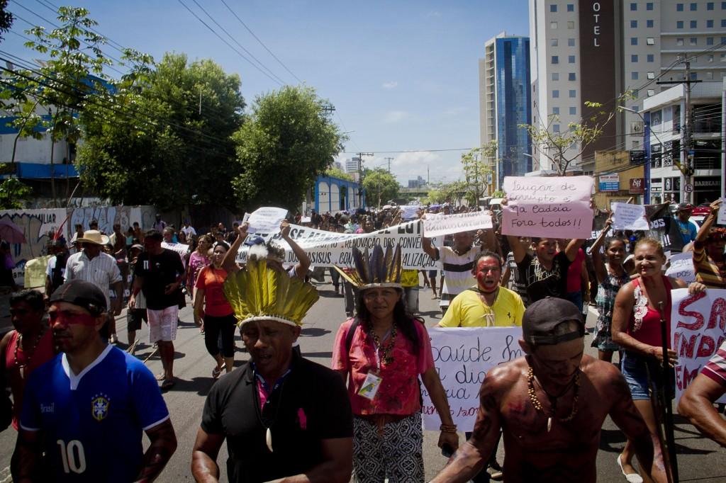 Protesto nas ruas de Manaus (Foto: Alberto César Araújo/Amazônia Real)