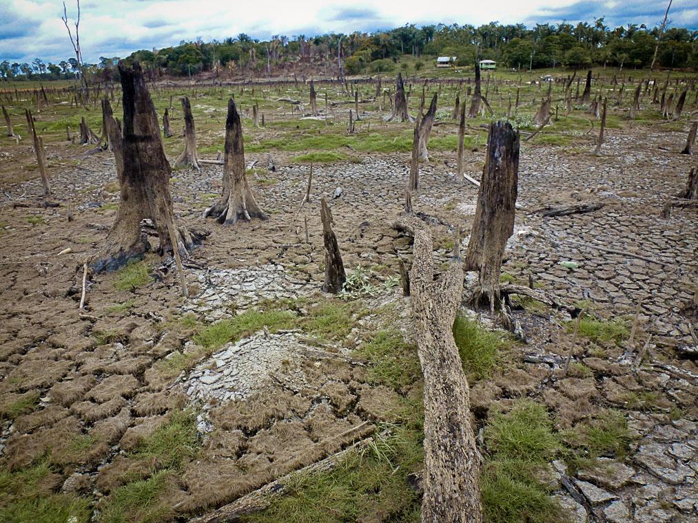 Lago seco da hidrelétrica de Balbina em Presidente Figueiredo, no Amazonas (Foto: Alberto César Araújo/Amazônia Real)