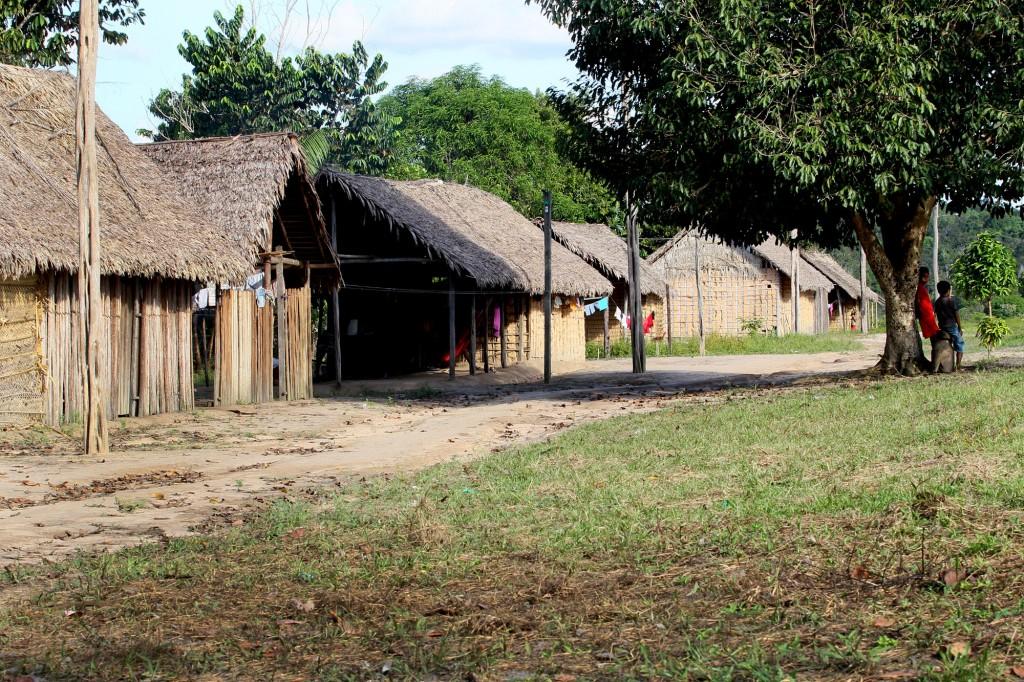 Moradias tradicionais Sateré-Mawé.