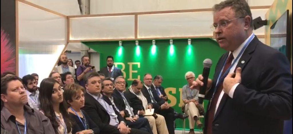 Ministro Blairo Maggi durante evento na COP 22 (Foto: MAPA)