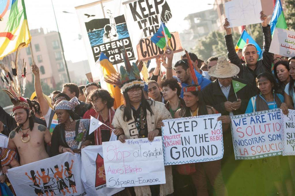 A Marcha dos Povos Indígenas em Marrakech (Foto: Jeremy Sutton Hibbert/Greenpeace)