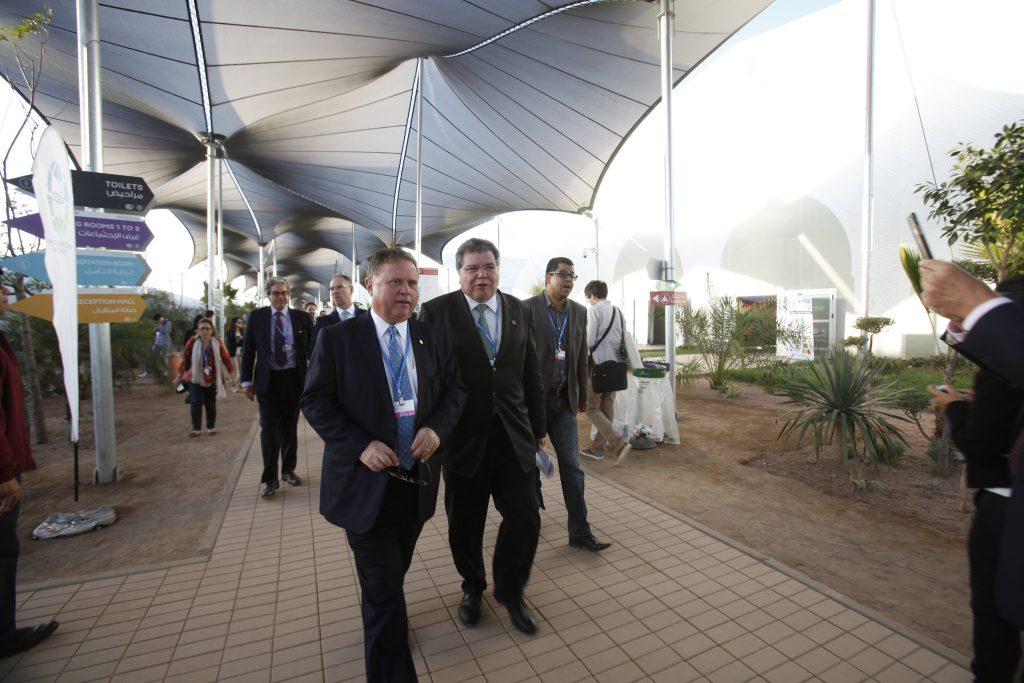 Os ministro Blairo Maggi e Sarney Filho na COP22. (Foto: Gilberto Soares/MMA)