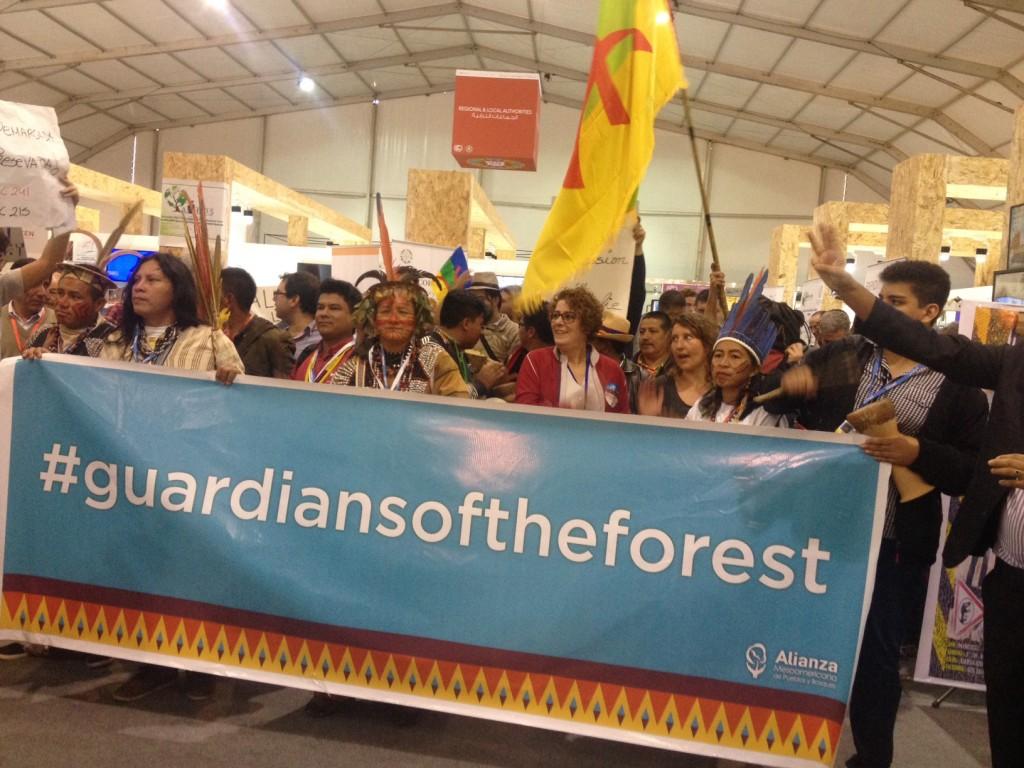 Índios e ativistas fazem protesto no pavilhão da Green Zone, na COP 22 (Foto: Rafaela Diedrich/ProjetoCasperNaCop22/Amazônia Real)