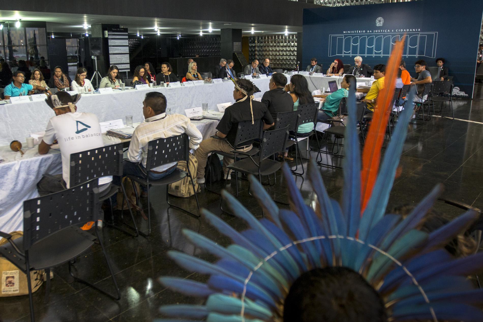 Reunião do Conselho Nacional de Política Indigenista (CNPI) reunido em Brasília, no Ministério da Justiça (Foto: Ana Mende/Amazônia Real)
