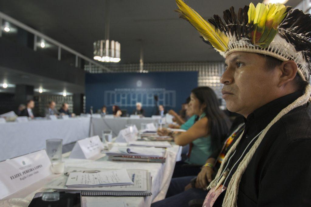 Reunião do Conselho Nacional de Política Indigenista (CNPI) em Brasília, no Ministério da Justiça (Foto: Ana Mendes/Amazônia Real).
