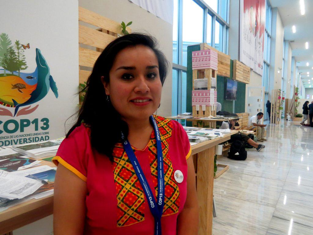 A indígena mexicana Lia Lopez, uma das lideranças participantes da COP13 (Foto: Elaíze Farias/Amazônia Real)