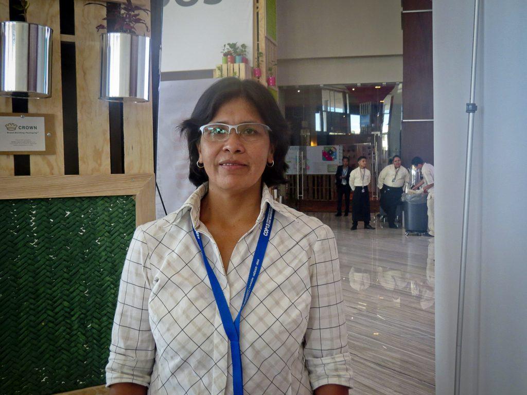 Rosario Barradas, da etnia Cuqui, da Bolívia. que afirmou que decisões são debaixo para cima (Elaíze Farias/Amazônia Real)