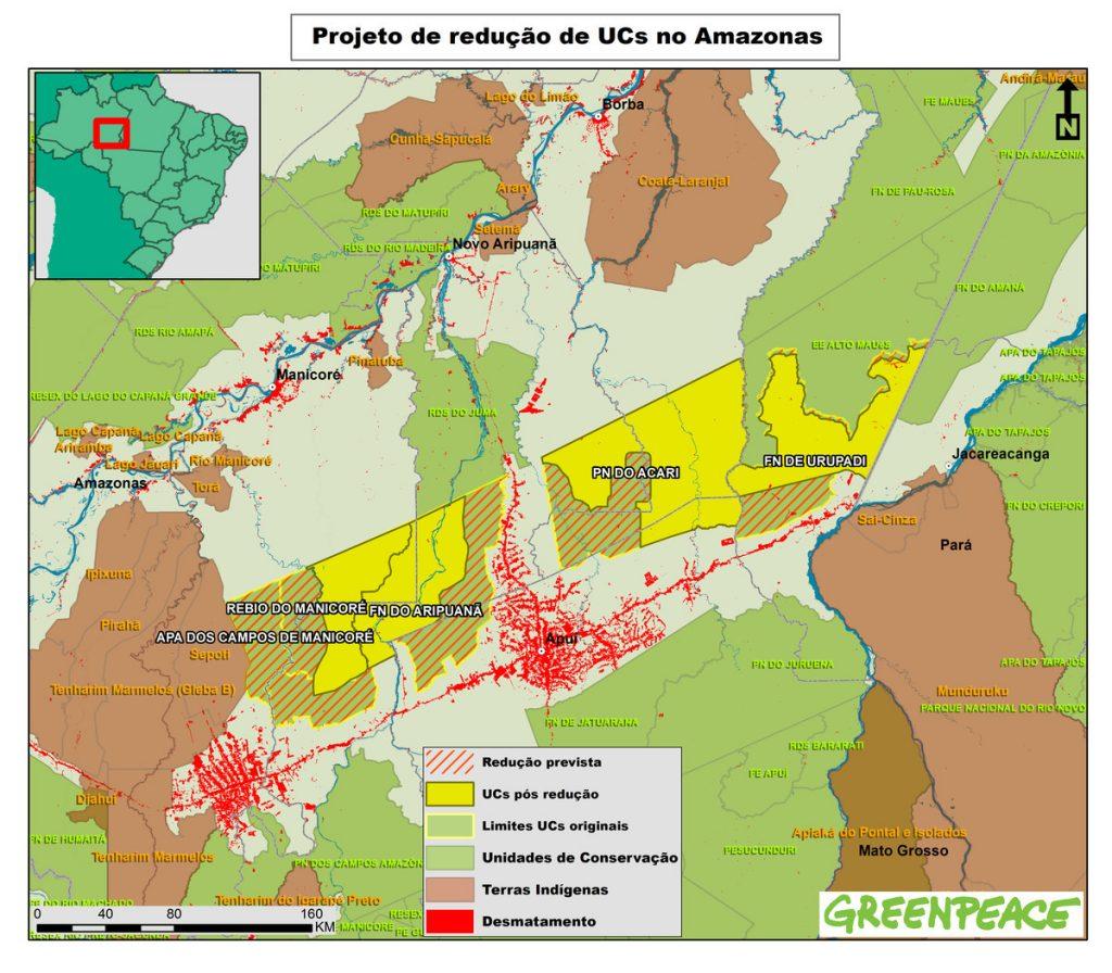 Mapa das cinco UCs divulgado pelo Greenpeace.