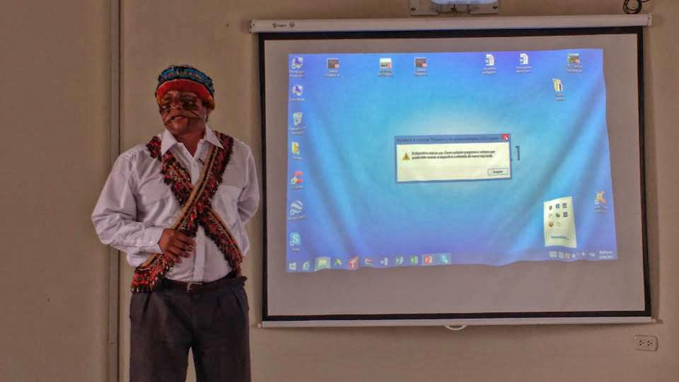 Domingos Peas, liderança indígena Achuar da amazônia equatoriana (Foto: Fospa)