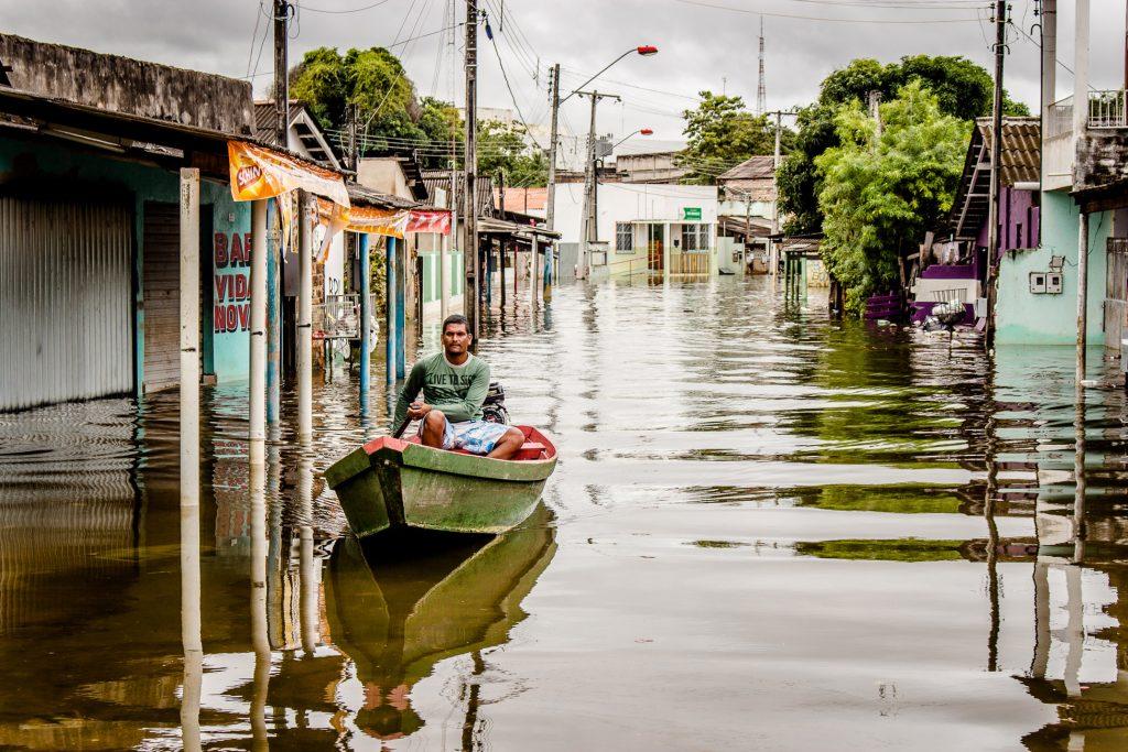 A enchente no Beiral, no centro de Boa Vista (Foto: Yolanda Simone/Amazônia Real)
