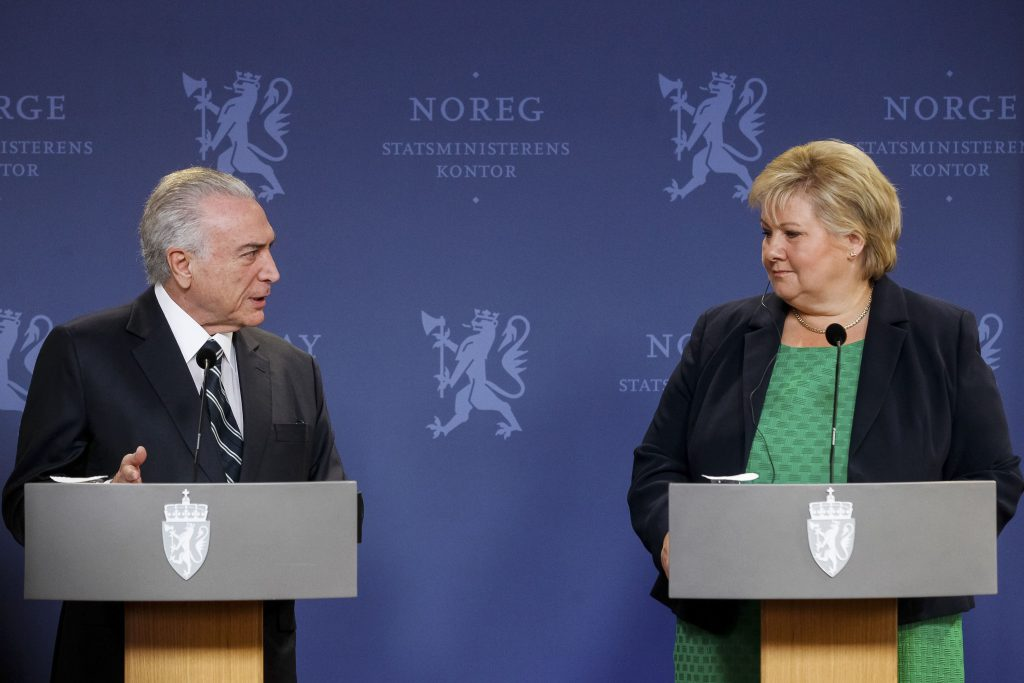 Michel Temer e a Primeira-Ministra da Noruega, Erna Solberg.(Beto Barata/PR)