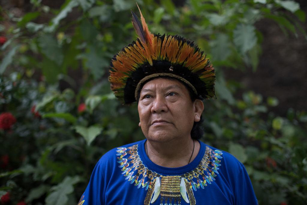 Imagem da liderança indígena, Davi Kopenawa Yanomami