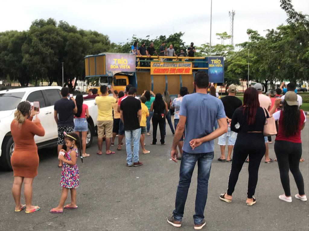 Manifestação de garimpeiros e apoiadores da mineração em terras indígenas no Centro Cívico de Boa Vista (RR) (Foto: Bruno Kelly/Amazônia Real)
