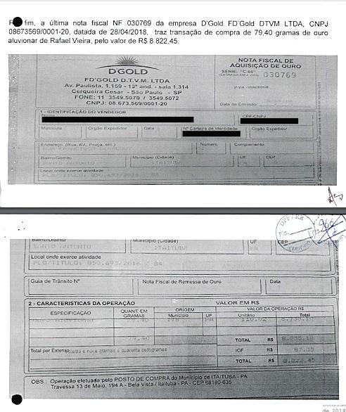 Nota Fiscal encontrada na casa de Rafael Vieira; segundo a PF, documento indica que ouro da TI Yanomami foi negociado com DTVM (Reprodução)